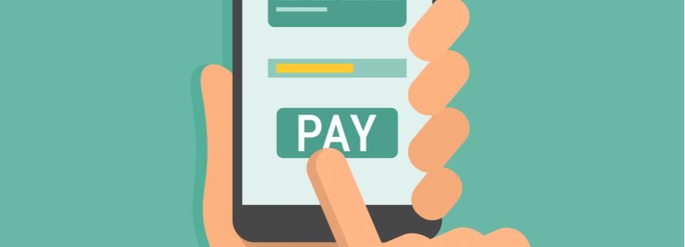 Graphik Hand bezahlt online per smartphone